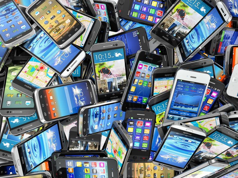 Pile of different Smartphones